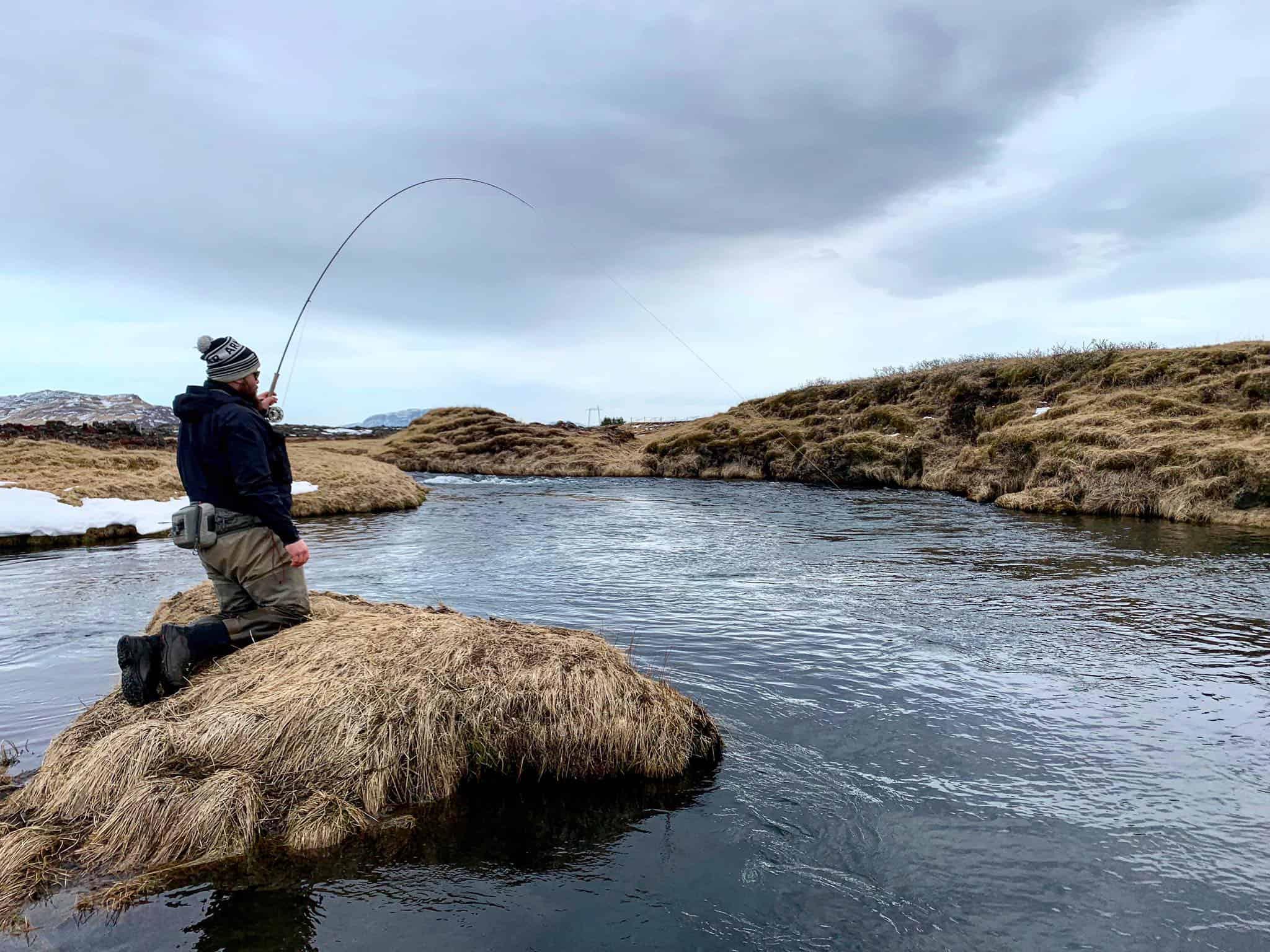 Veiðimaður við Minnivallalækur
